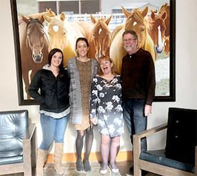 Karina_ Sara_ Cher_ Jeff in front of horse picture at the Westin Westminster