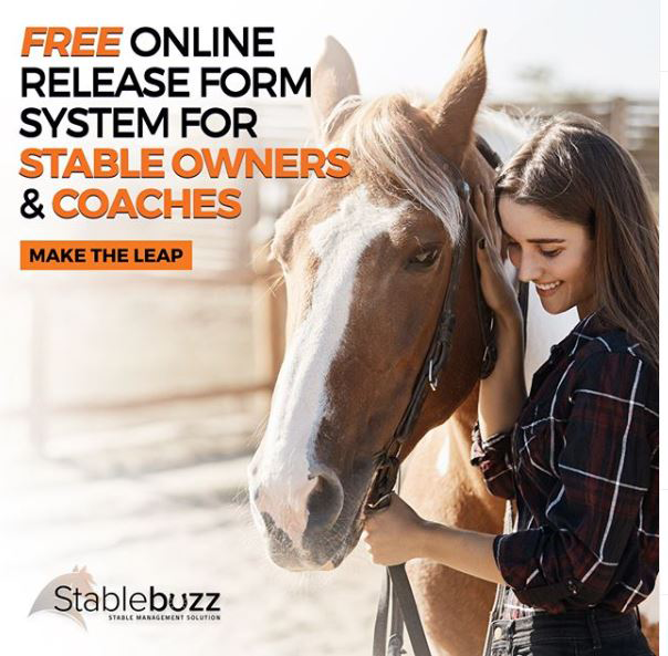 ad for StableBuzz for free online release form system woman with horse