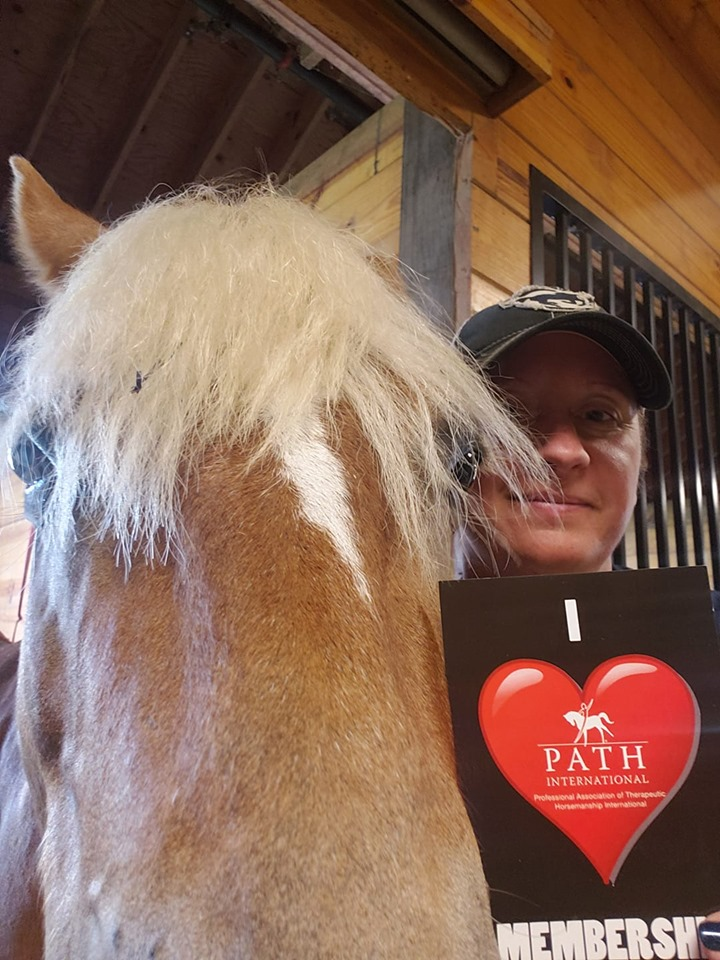 woman with horse and I Love PATH Intl. Membership postcard