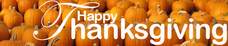 words Happy Thanksgiving on top of pumpkin background