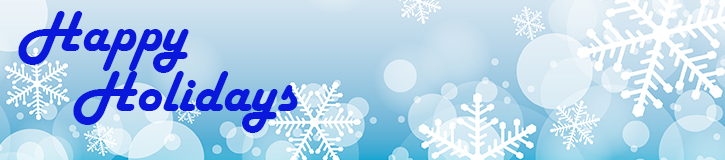 Happy holidays in blue on snowflake background