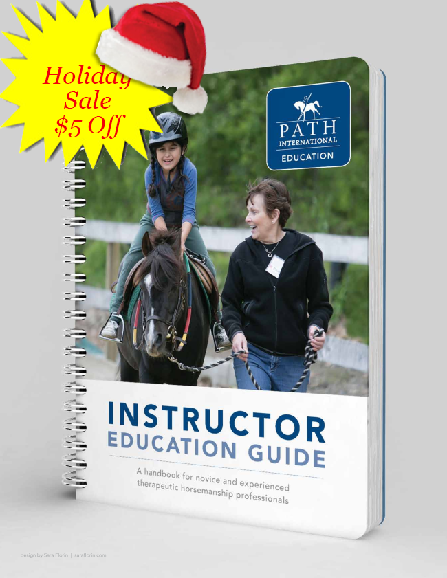 yellow starburst with red santa hat_ holiday sale _5 off in red on cover of instructor ed guide