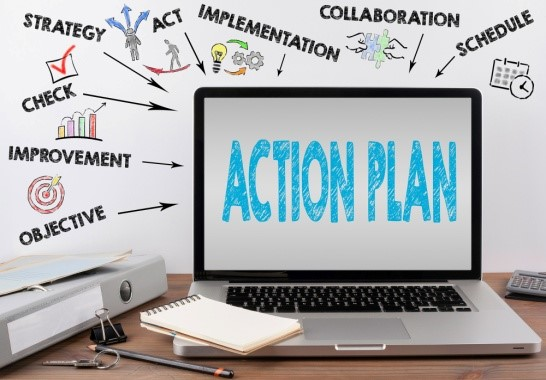 image showing the word action plan on laptop screen
