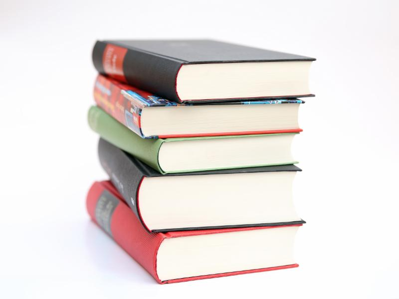 Image of a stack of five books