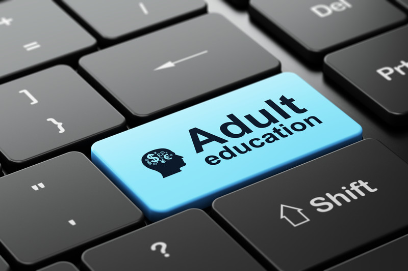 Keyboard that highlights the word Adult Education