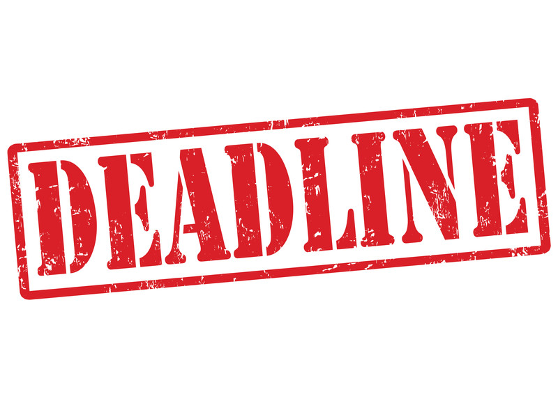 Word deadline in red and capital letters