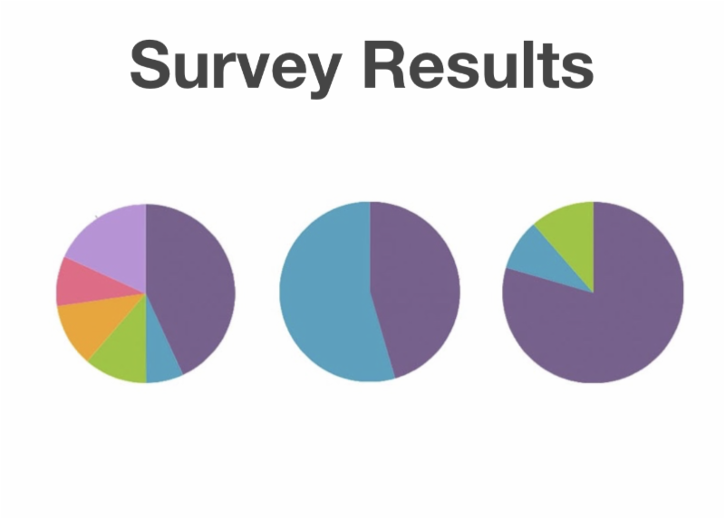 image showing three pie graphs with words survey results