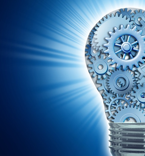 light bulb with gears in it representing innovation