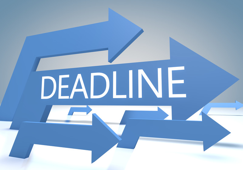 Graphic showing arrows pointing right with word Deadline at center