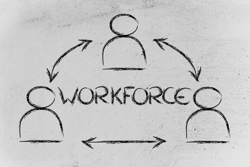 Graphic showing Workforce at Center and direction arrows