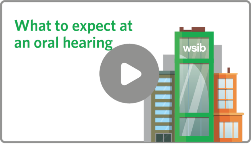 text what to expect at an oral hearing and image of buildings with play button