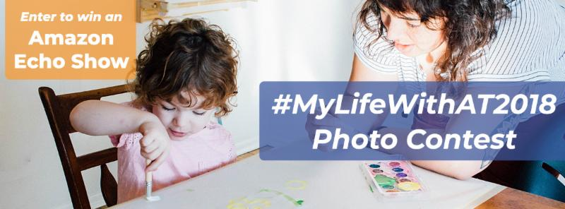 Young girl and her mom sit at a table painting together. The following words are overlaid on the photo_ Enter to win an Amazon Echo Show _MyLifeWithAT2018 Photo Contest.