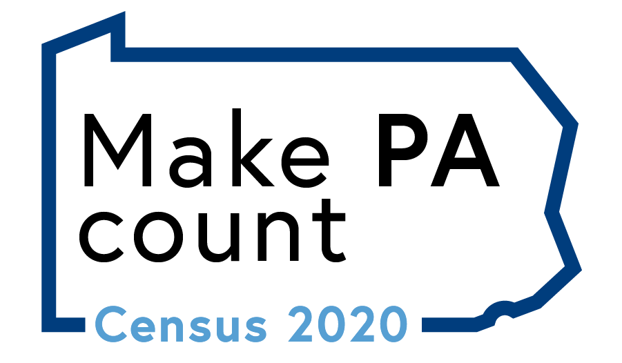 Map of Pennsylvania with the words Make PA Count Census 2020