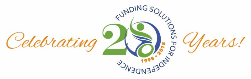 Celebrating 20 Years_ The number 20 incorporates the PATF logo and is encircled by the words _Funding solutions for independence_ and the numbers 1998 - 2018.
