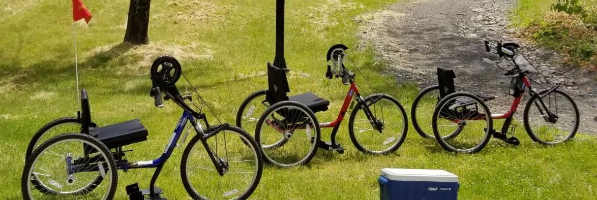 Three handcycles are parked in the grass along a gravel trail.