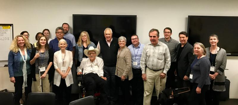 Group shot of 18 people at the Assistive Technology Financing Meeting 2018.