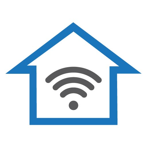 Smart Homes Made Simple logo features the blue outline of a house with a grey wifi symbol inside