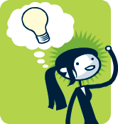 Penny Pincher cartoon of woman with lightbulb above her head