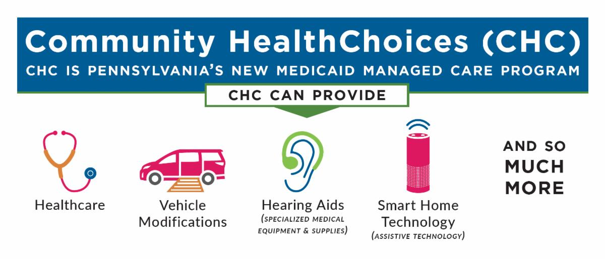 Community HealthChoices _CHC_ is Pennsylvania_s New Medicaid Managed Care Program. CHC can provide_ Healthcare_ Vehicle Modifications_ Hearing Aids_ Smart Home Technology_ and so much more_