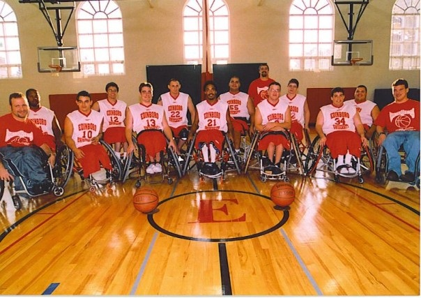 Everett at age 19 with his team_ the Fightin_ Scotts_ at Edinboro University.