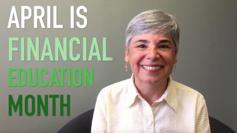 Susan smiles with the words April is Financial Education Month next to her.