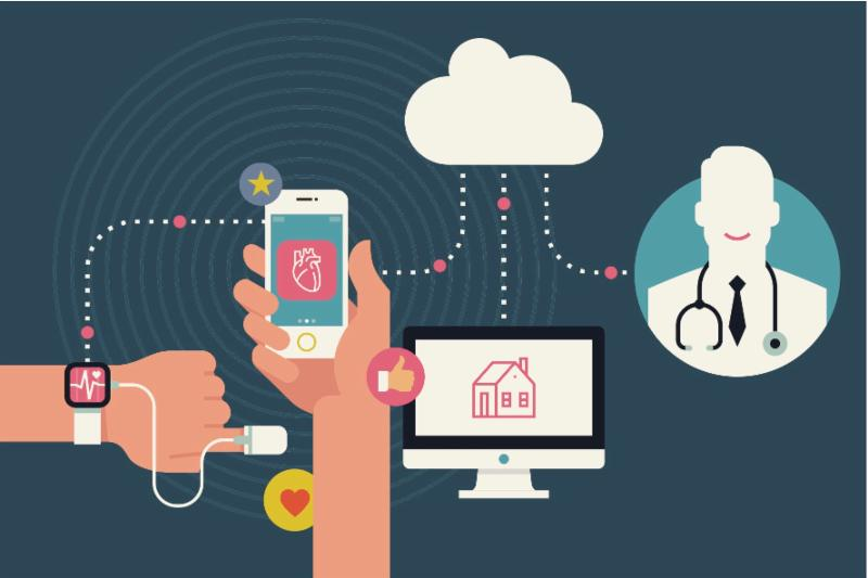Vector image of person_s hands tracking his health condition with smart bracelet_ mobile application and cloud services
