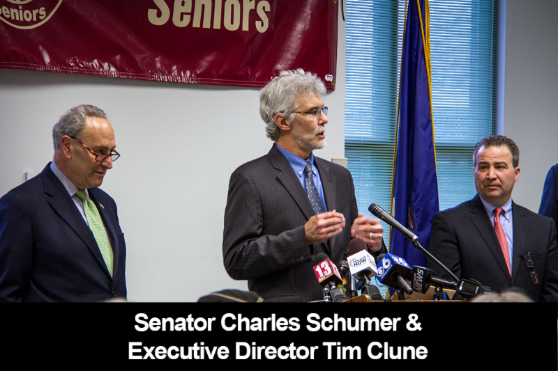 Photo of Executive Director Tim Clune & Senator Schumer