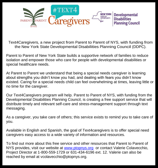 flyer for text 4 caregivers