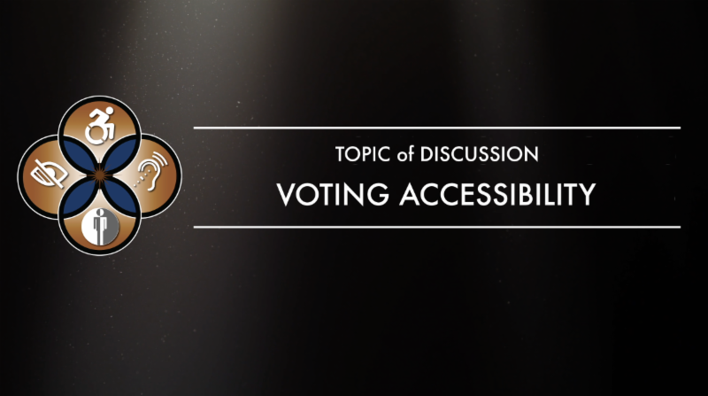 Podcast caption that reads Topic of discussion Voting Accessibility