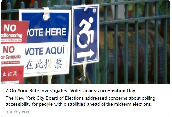 three voting signs in a row showing accessibility