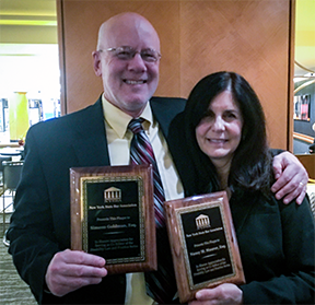 Picture of DRNY Past Board Member Nancy Maurer, Esq. and Supervising Attorney Sim Goldman, Esq.