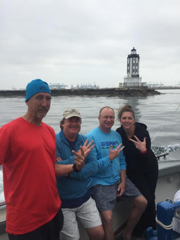 Karil Reibold, James Fernald, Bob Fernald, and John MacMahon after Bob's Catalina crossing. Aug 25, 2016