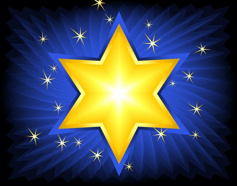 golden star of david. digital illustration. blends brushes gradients.