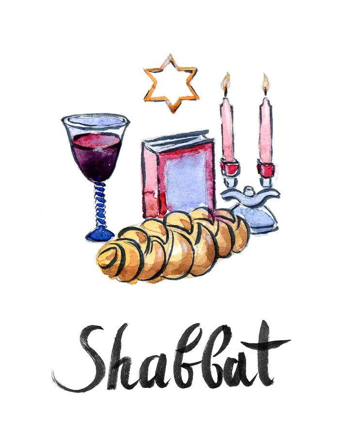 Watercolor complete Shabbat table hand drawn - Illustration