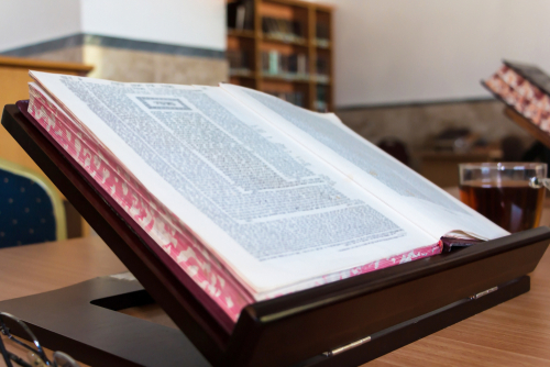 background of Book of Talmud on Stand. Gemara in Hebrew