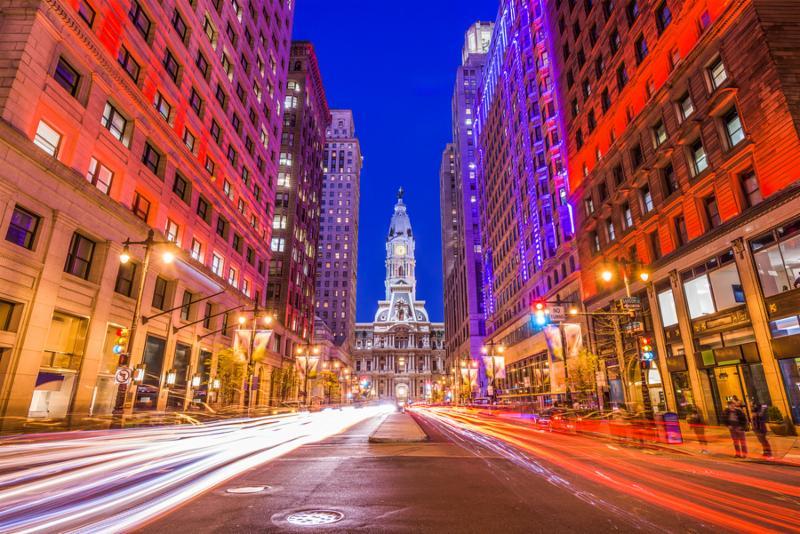 Philadelphia_ Pennsylvania_ USA downtown at city hall.