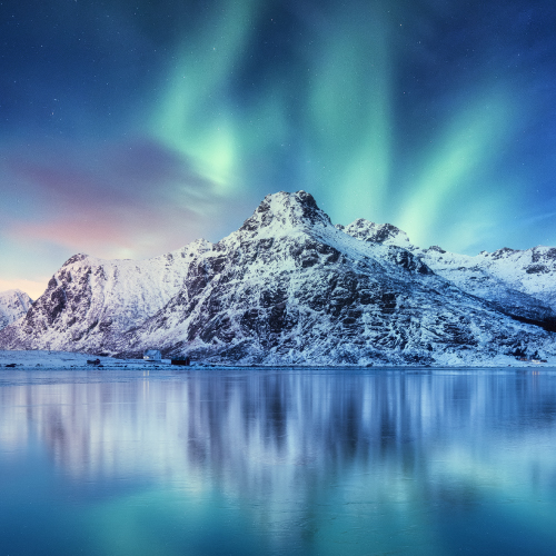 Northern lights winter sea scape