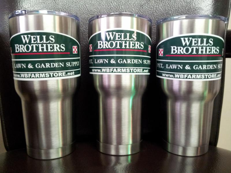 Pick up RTIC insulated tumblers at Wells Brothers Pet Lawn & Garden.