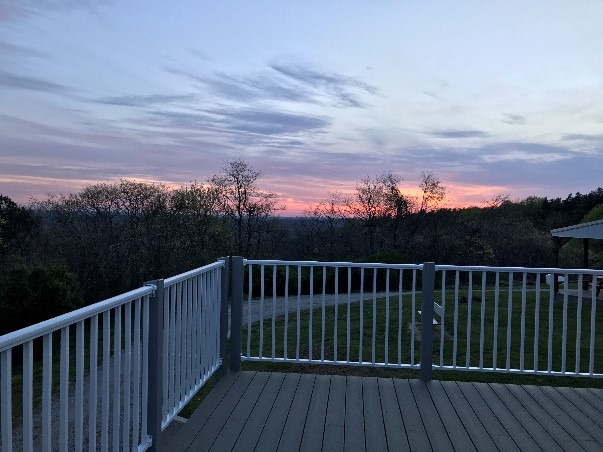 sunset over the new deck