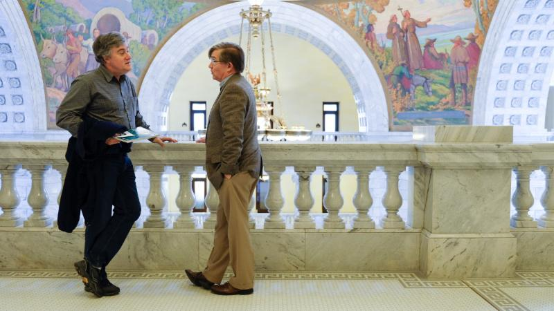 District 25 Rep. Joel Briscoe talks with Lee Stanhope, a constituent, after a meeting at The Hive.