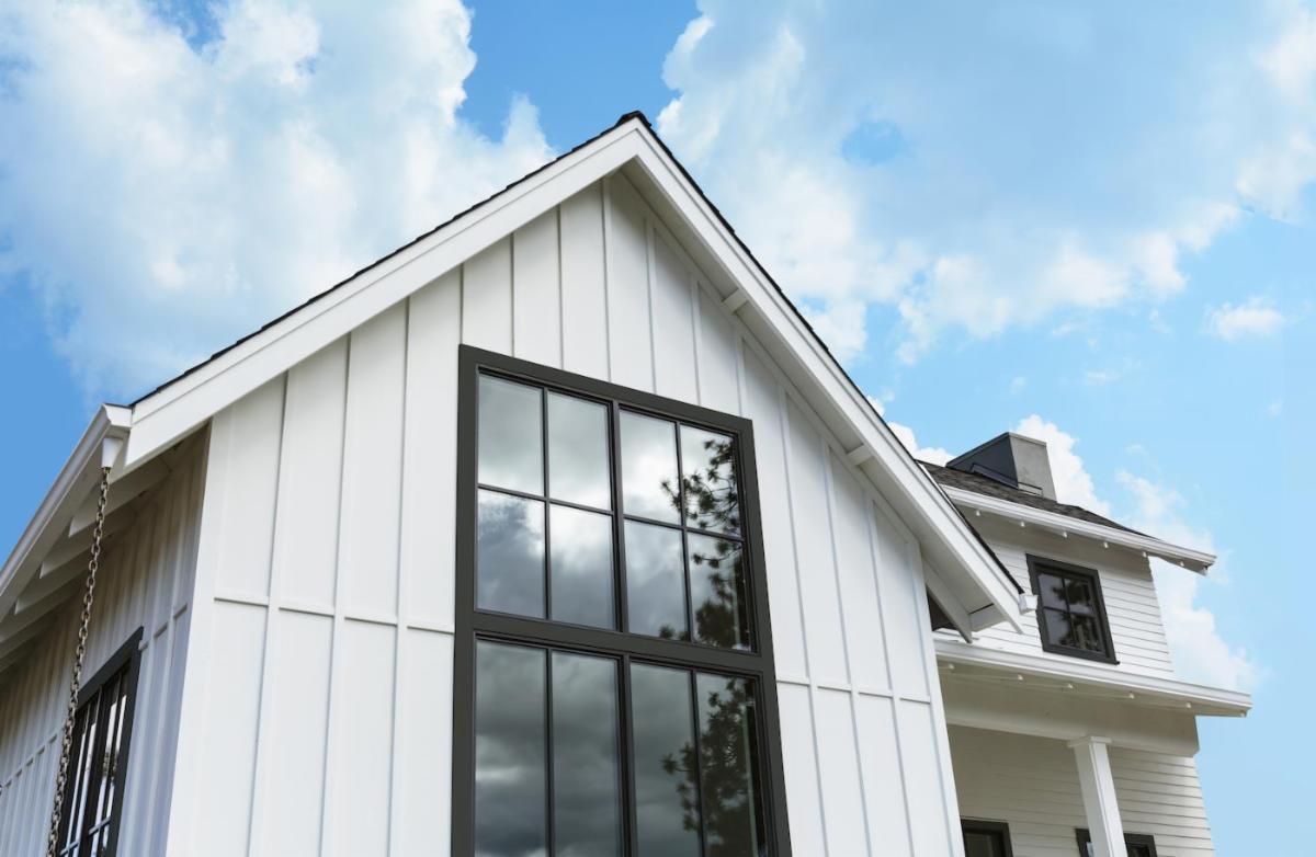 house with black trim on windows