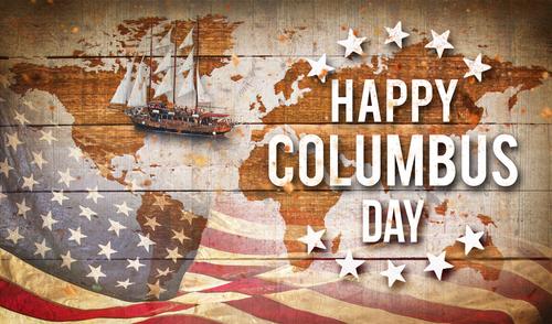 Happy Columbus day banner_ american patriotic background