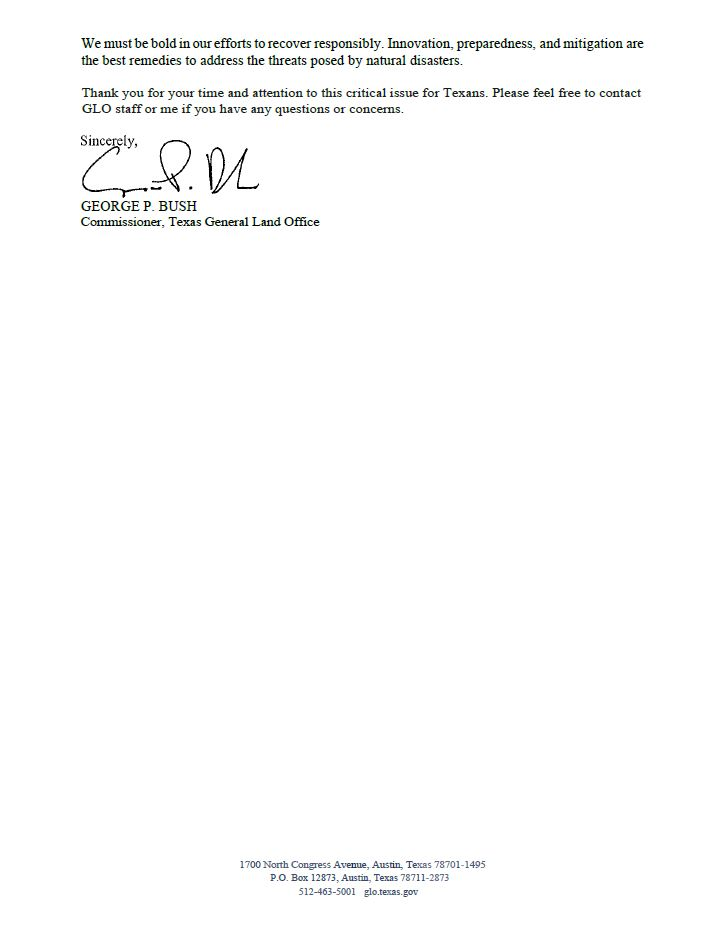Cmr  George P  Bush sends letter to OMB calling for rule approval