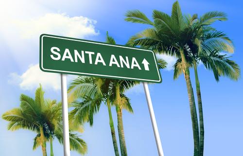 Road sign - Santa Ana. Green road sign  signpost  on blue sky background.  3D-Illustration
