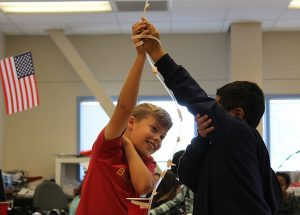 5th graders at Haight Elementary in Alameda practice team building.