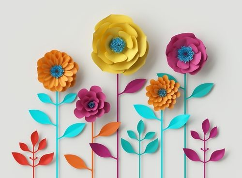 3d render_ digital illustration_ abstract colorful paper flowers_ quilling craft_ handmade festive decoration_ vivid floral background_ mint pink yellow