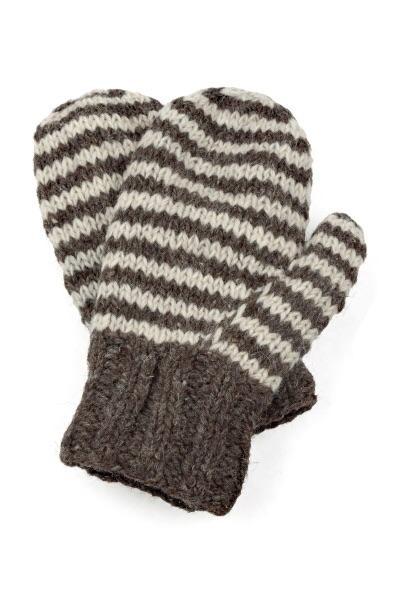 Striped hand knit mittens