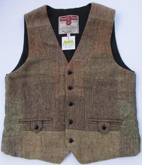 Harris tweed patch vest