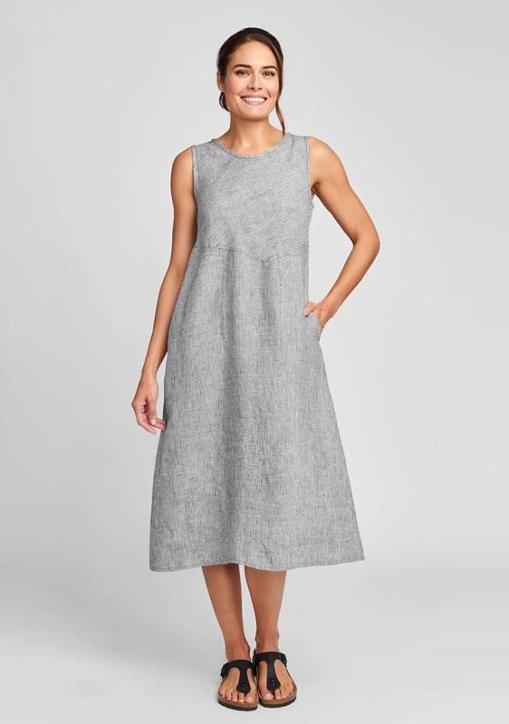 Sunrise dress in platinum yarn dye, also in midnight