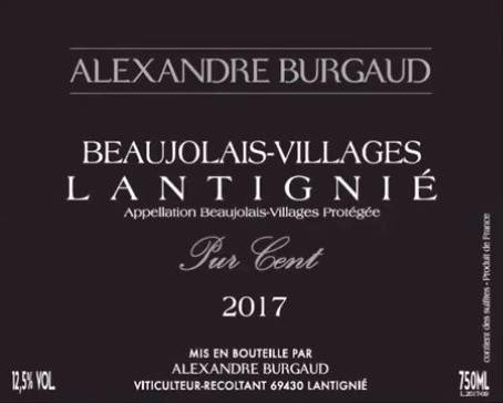 Burgaud Pur Cent 2017 label